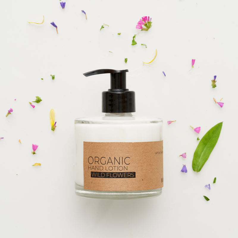 Wild Flower Organic Hand Lotion In Glass Pump Bottle