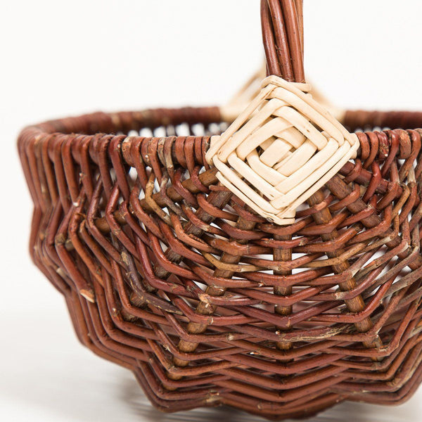 White Diamond Handled Frame Basket - Handmade Willow Basket