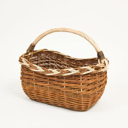 Long Handled Copper Willow Shopper - Handmade Willow Basket