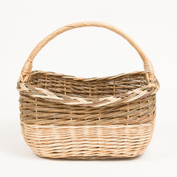 Long Handled French Willow Pleat Shopper - Handmade Willow Basket
