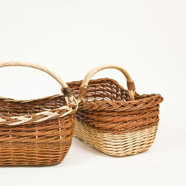 Short Handled Copper Willow Stripe Shopper - Handmade Willow Basket