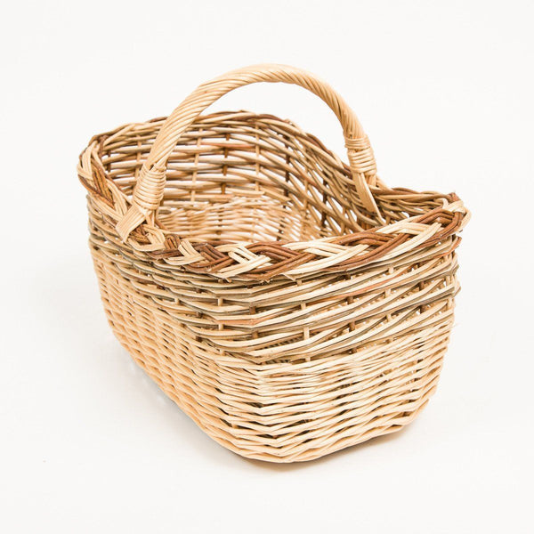 Short Handled French Willow Shopper - Handmade Willow Basket