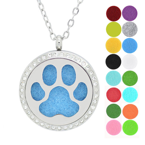 Dotiow cute dog paw essential oil diffuser locket necklace