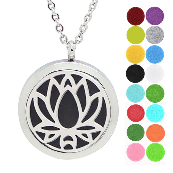 dotiow lotus aromatherapy essential oil diffuser locket necklace pendant