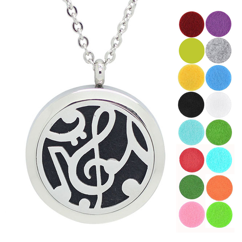 Music Note Aromatherapy Essential Oil Diffuser Locket Necklace
