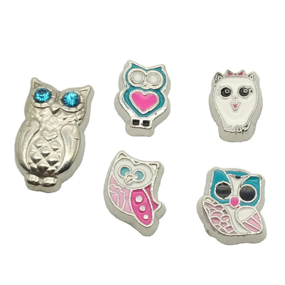 5pcs cute owl floating charms for origami owl floating locket 5pcs cute owl floating charms for origami owl floating locket women necklace dotiow jeuxipadfo Image collections