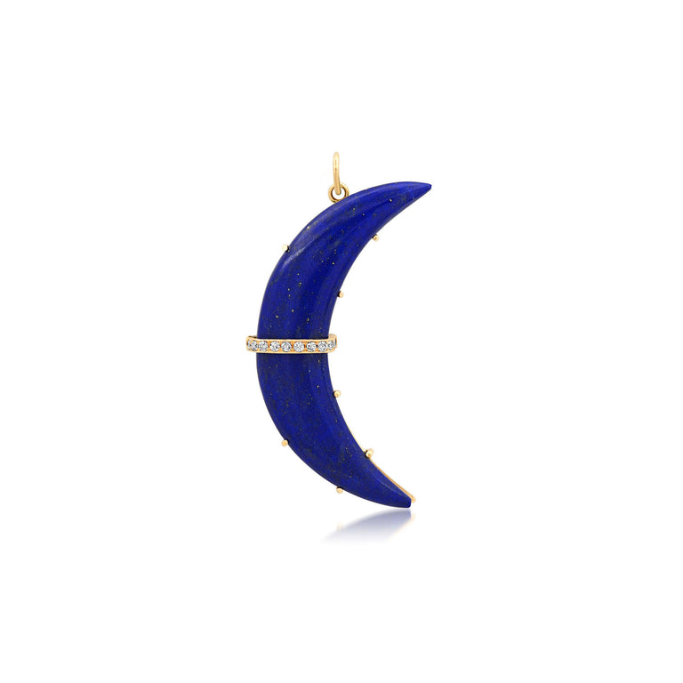 Lapis  Carved Crescent Charm