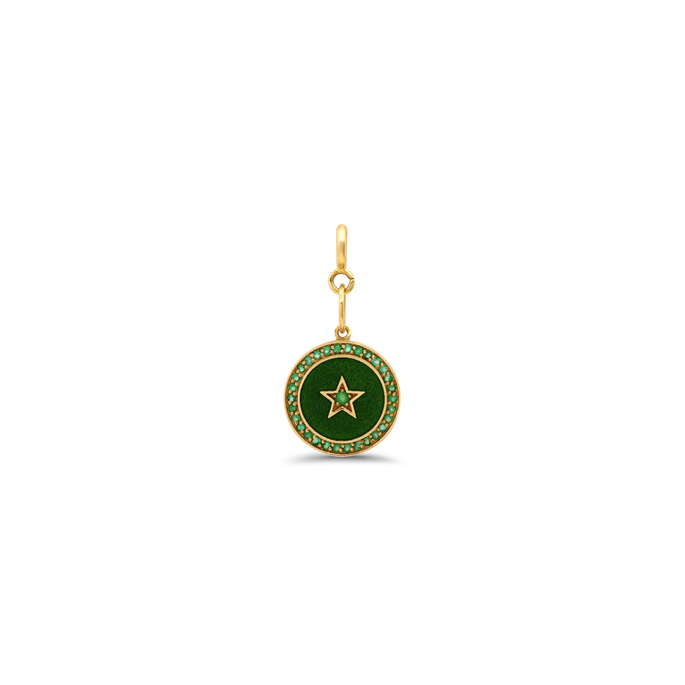 Full Moon Emerald Enamel Charm