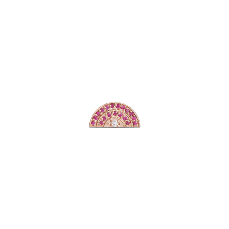 Mini Ruby & Diamond Rainbow Stud