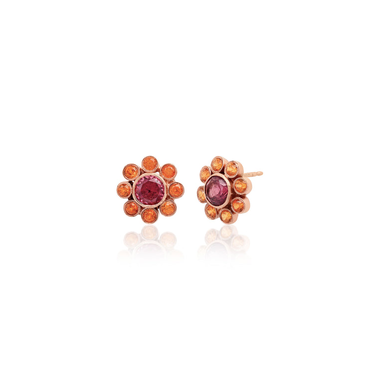 Garnet and Orange Sapphire Flower Studs