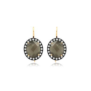 Grey Moonstone Oval Earrings