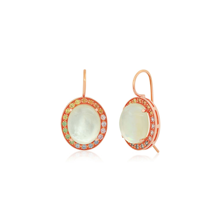 Oval Mother of Pearl Multi Sapphire Earrings