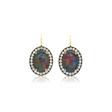 KAT AUSTRALIAN OPAL OVAL EARRINGS