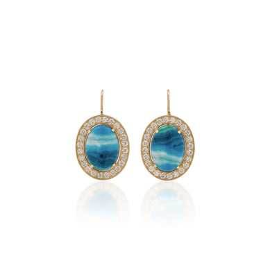 One of a Kind Chrysocolla Oval Earrings