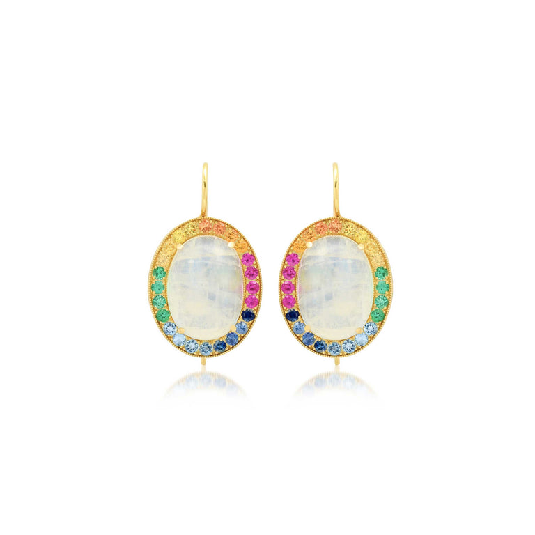 Rainbow Moonstone Oval Earrings
