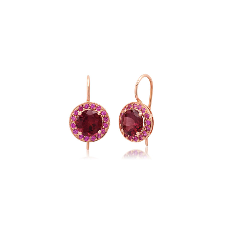Round Rhodolite Garnet Earrings