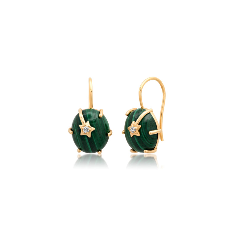Mini Galaxy Malachite Star Earrings