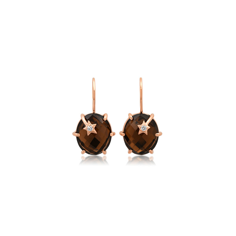 Mini Galaxy Smokey Quartz Earrings