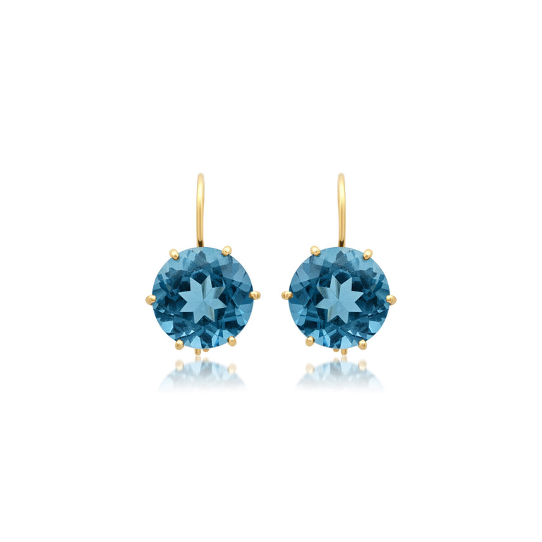 Round London Blue Topaz Earrings