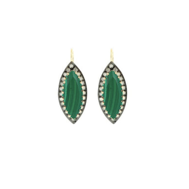 Marquis Malachite Earrings