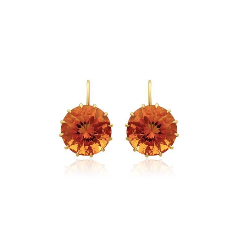 Large Round Citrine Earrings
