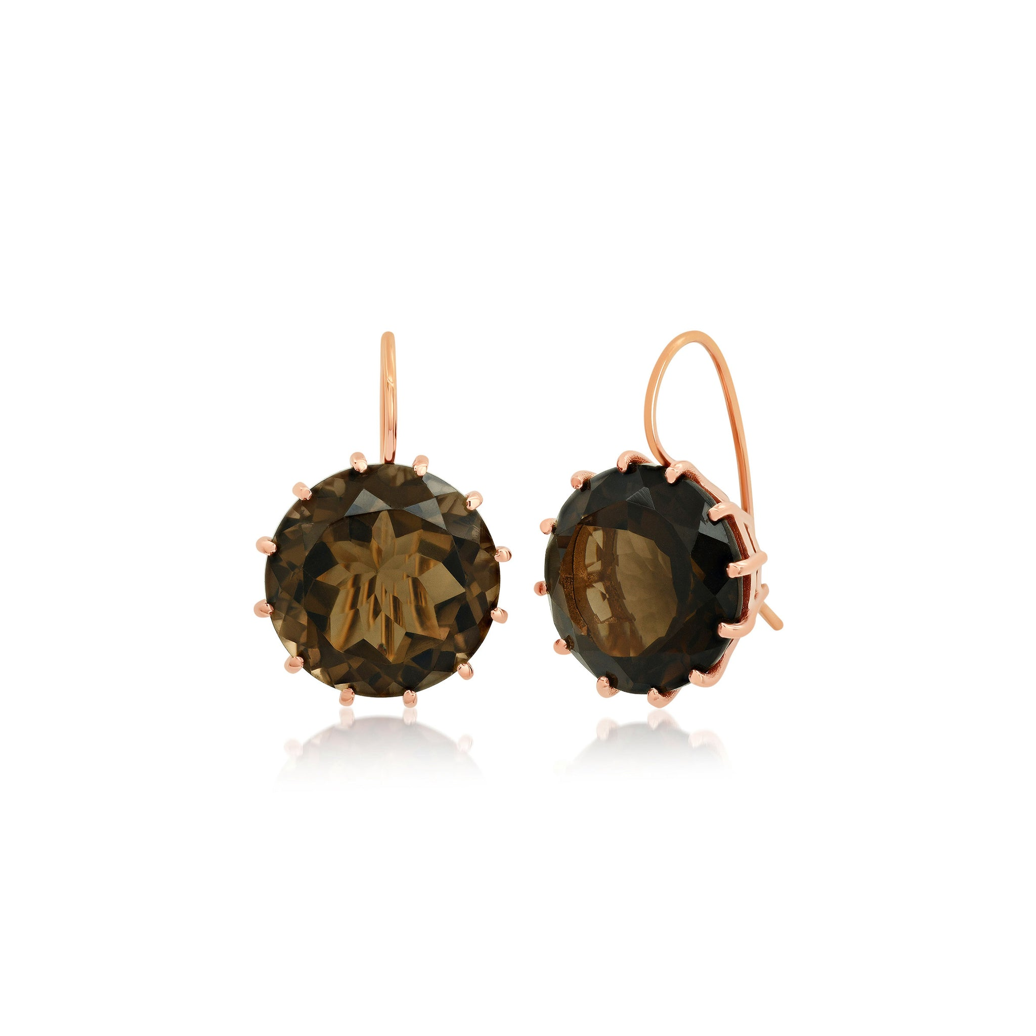Large Round Smokey Topaz Earrings