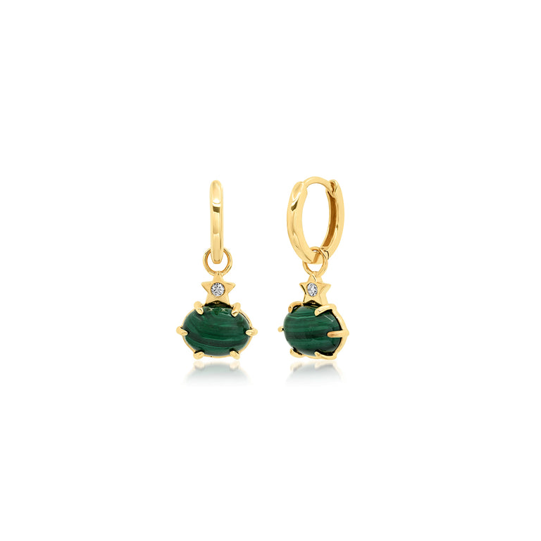 Mini Cosmo Malachite Hoops