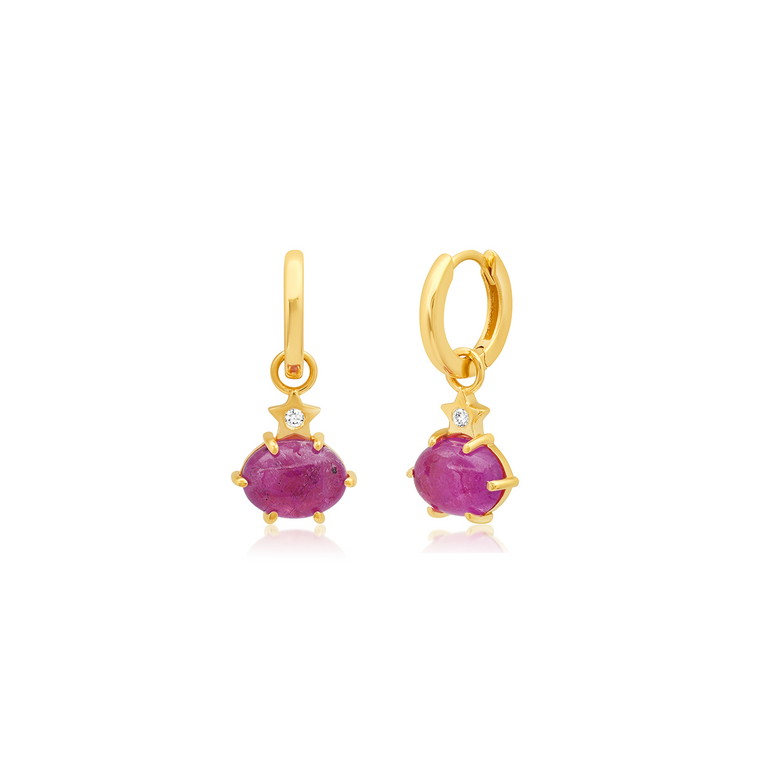 Mini Cosmo Pink Sapphire Hoops