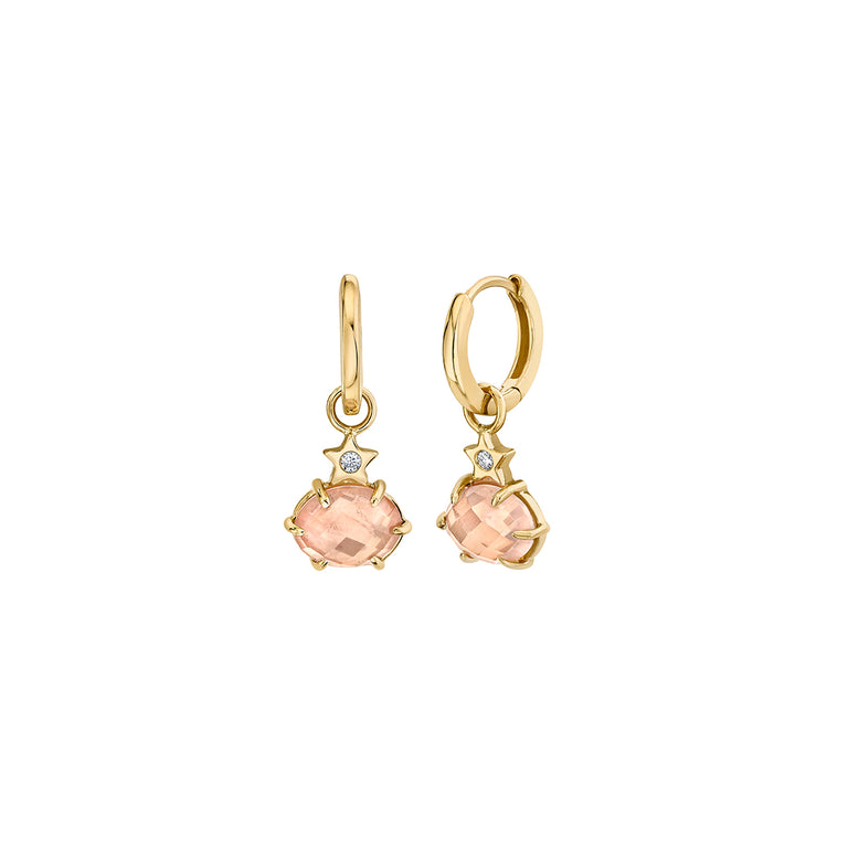Mini Cosmo Rose Quartz Hoops