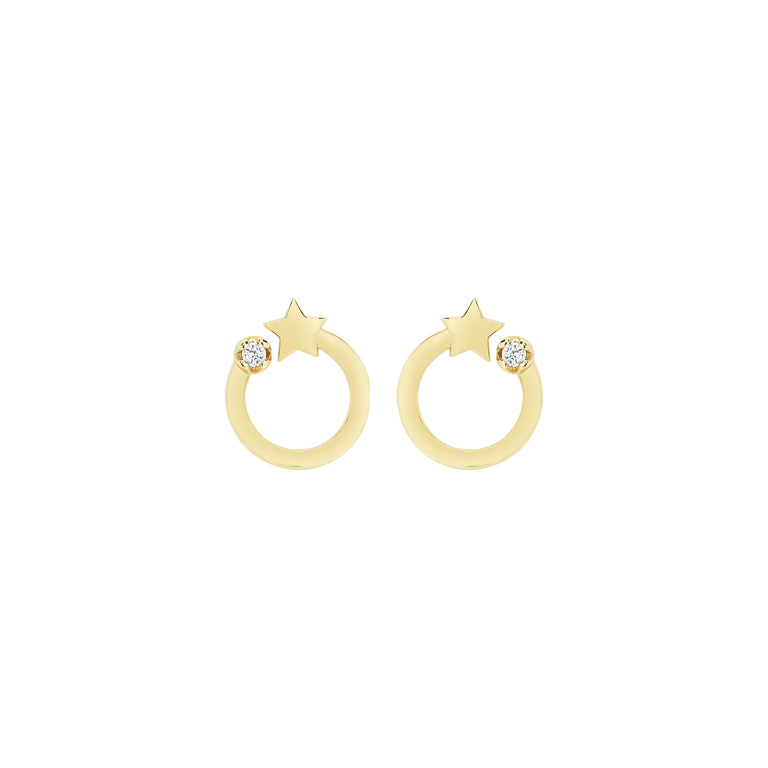Shooting Star Circle Studs