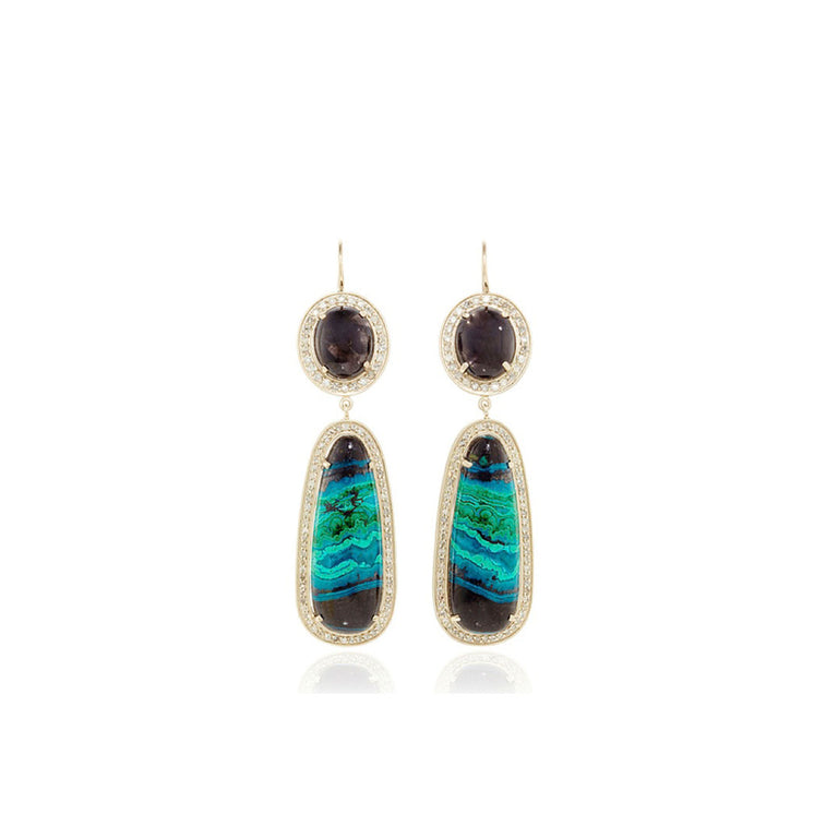 One of a Kind Chrysocolla Drop Earrings