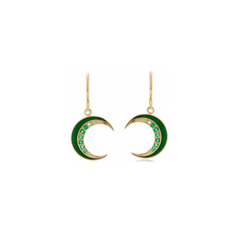 Emerald Crescent Enamel Earrings