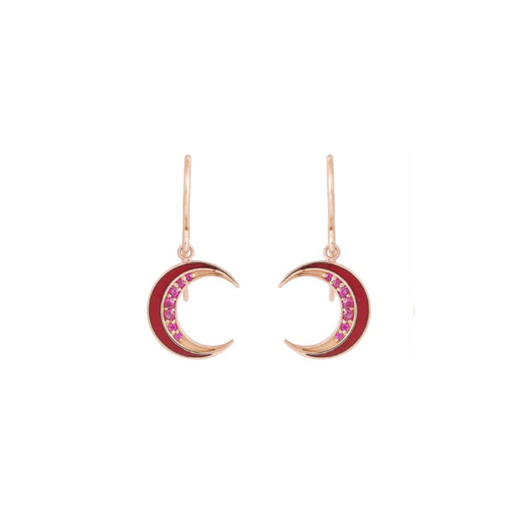Ruby Crescent Enamel Earrings