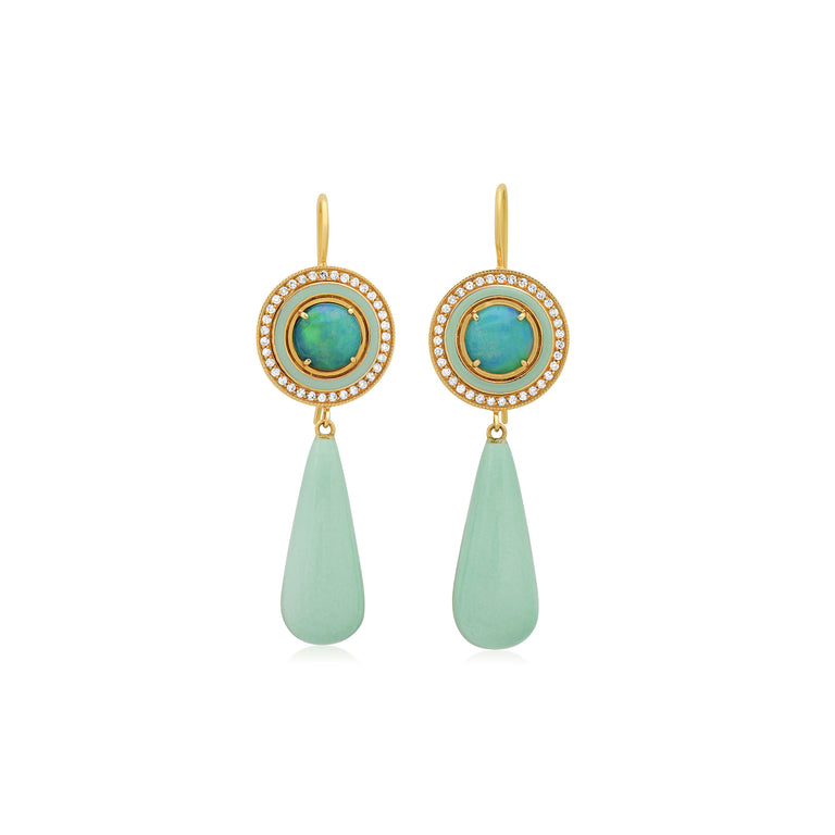 Opal and Mint Enamel Earrings with Diamond Trim