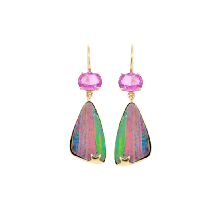 Lightning Ridge Opal & Pink Sapphire Earrings
