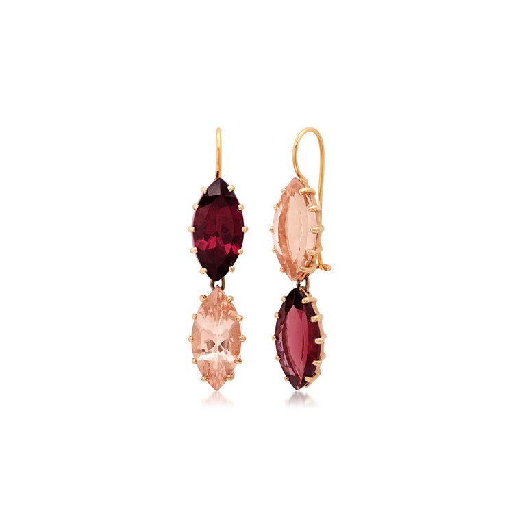 Morganite Marquis & Garnet Marquis Drop Earrings