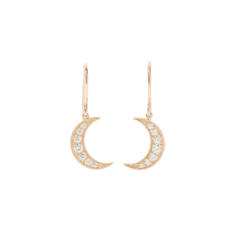 Crescent Moon Diamond Earrings