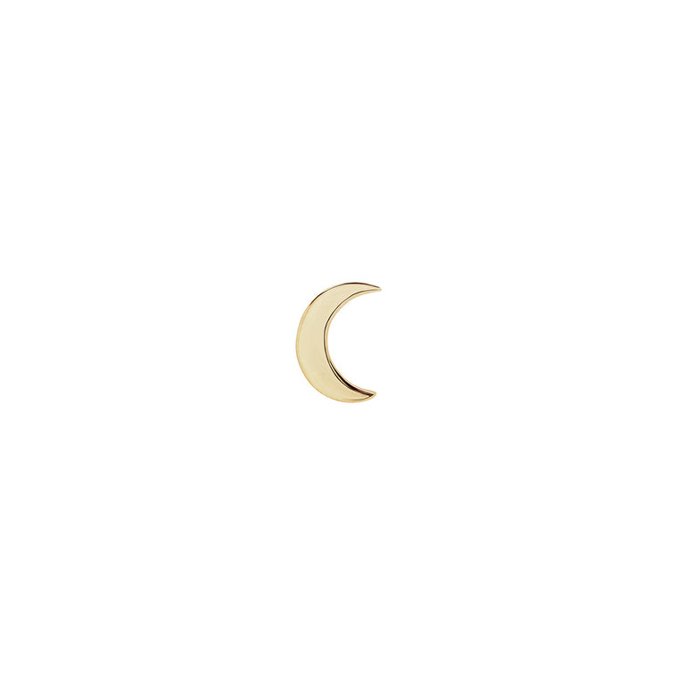Solid Gold Crescent Moon Stud