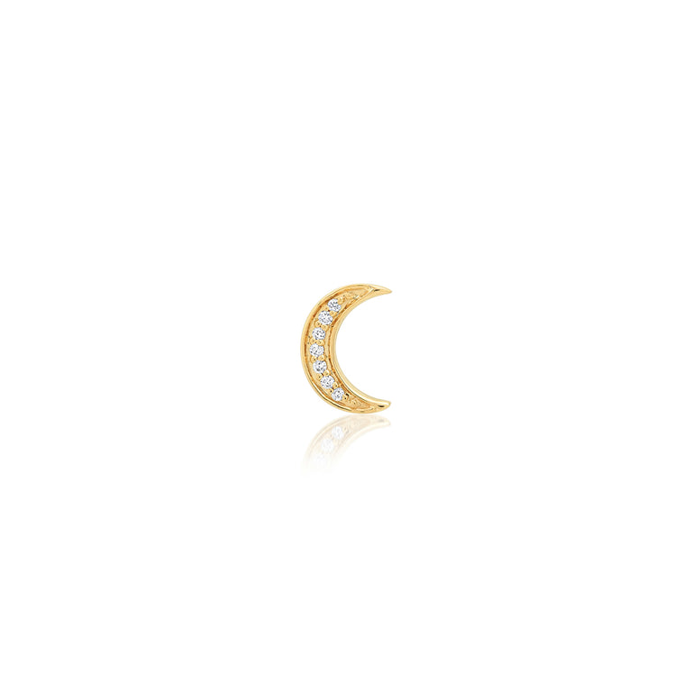 Mini White Diamond Crescent Stud