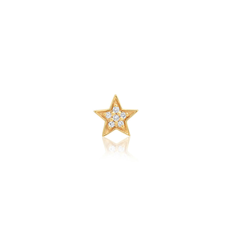 Mini Star White Diamond Stud