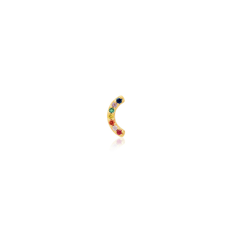 Single Row Multi Sapphire Rainbow Stud