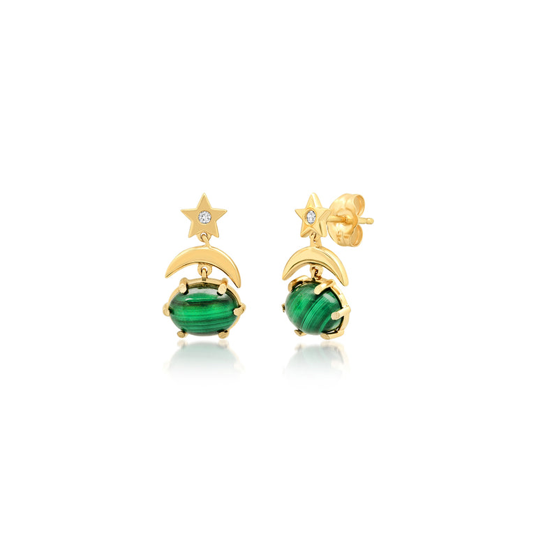 Mini Cosmo Malachite Drop Earrings