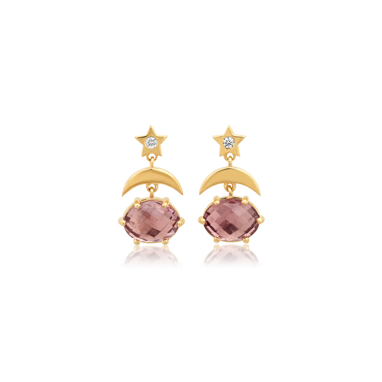 Mini Cosmo Rose de France Drop Earrings