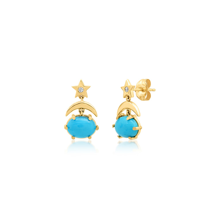 Mini Cosmo Turquoise Drop Earrings
