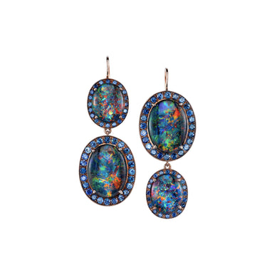 Double Kat Opal & Sapphire Earrings