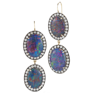 Double Kat Opal & Diamond Earrings