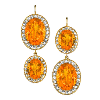 Double Kat Fire Opal & Diamond Earrings