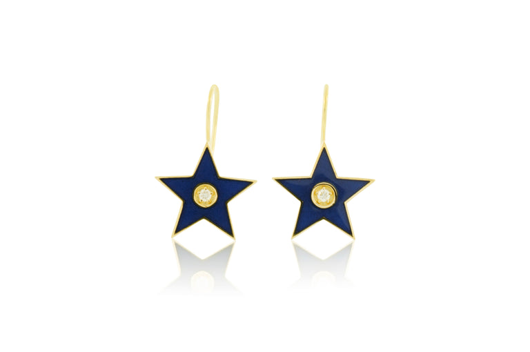 Enamel Diamond Star Earrings