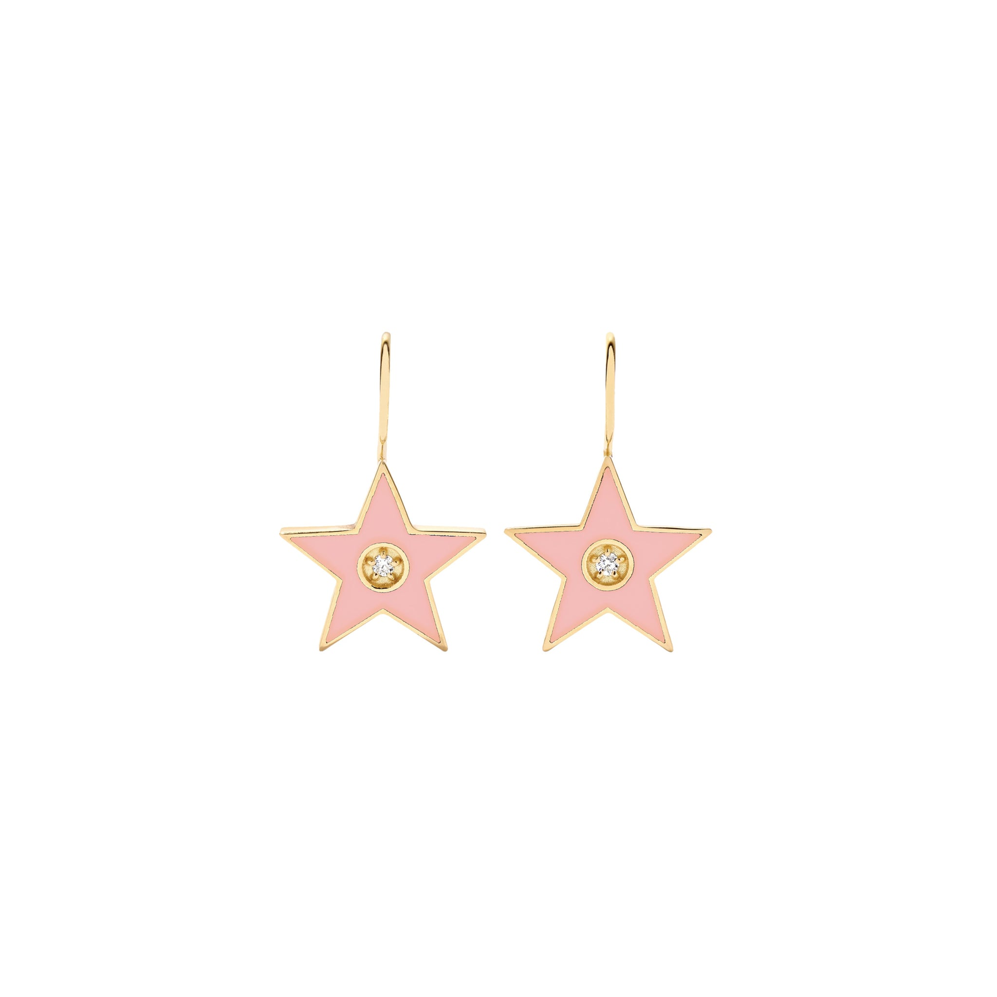 Small Enamel Diamond Star Earrings