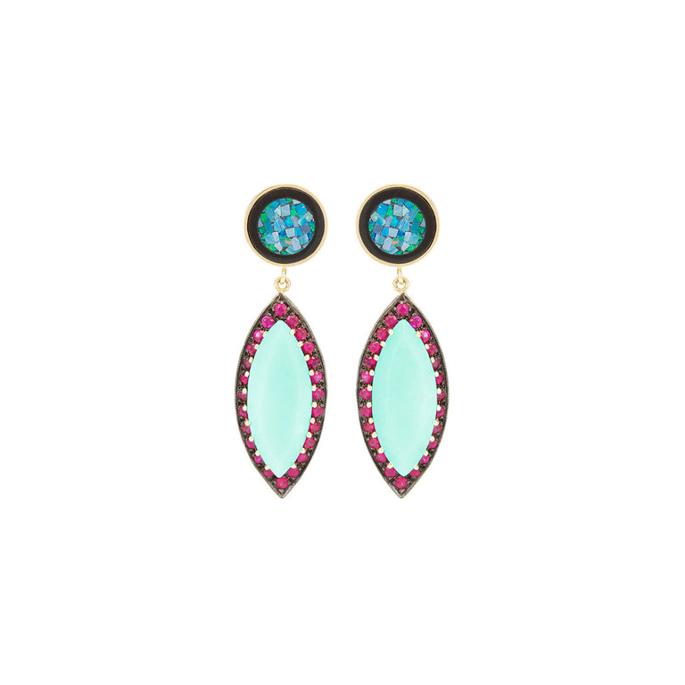 Kat Opals with Ruby & Turquoise Earrings